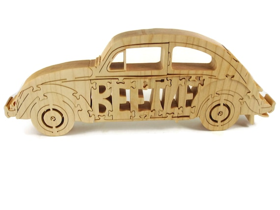 VW Beetle Wood Jigsaw Puzzle Handcrafted From Poplar Wood By KevsKrafts