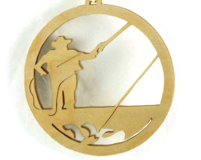 Fly Fisherman Fishing Christmas Ornament Handcrafted from Birch Wood