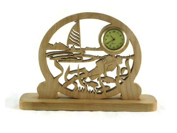 Scuba Diver And Sailing Scene Desk Or Shelf Clock Handmade From Cherry Or Maple Wood By KevsKrafts