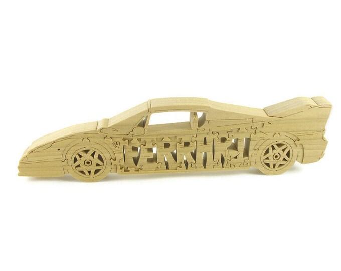 Ferrari F50 Scroll Saw Puzzle Handmade From Poplar Lumber