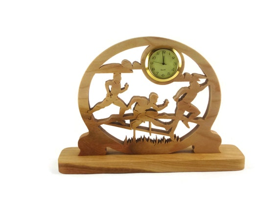 5K Runners Desk Or Shelf Clock Handmade From Cherry Wood By KevsKrafts Woodworking NFB-1
