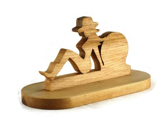 Cow girl bureau ou une étagère horloge fait main à partir de bois