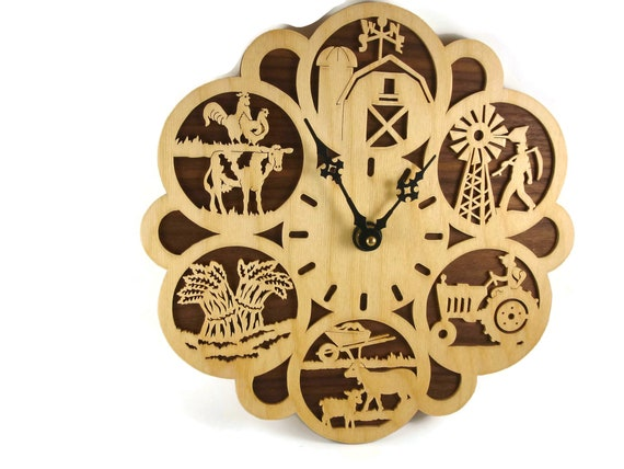 Farming Themed Wall Hanging Clock Handmade From Birch And Walnut Plywood By KevsKrafts,