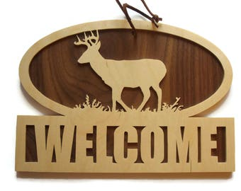 Deer Welcome Sign Wall Hanging Plaque Handmade By KevsKrafts Big Buck Sign, Whitetail Deer