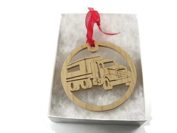 Semi Tractor Trailer Christmas Ornament, Handmade From Birch Wood By KevsKrafts BN-001-3