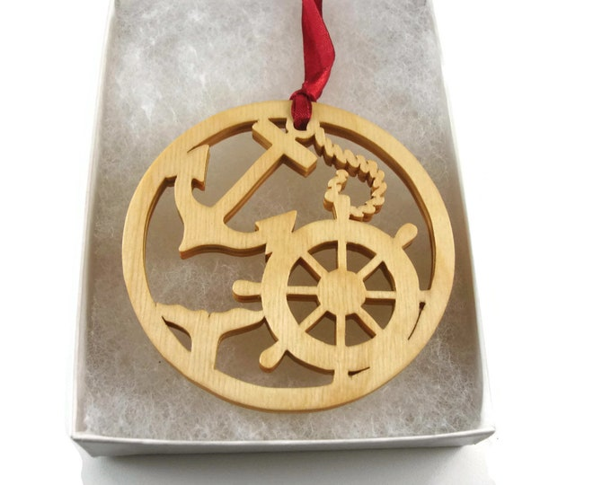 Ship Helm And Anchor Christmas Ornament Handmade From Birch Wood By KevsKrafts