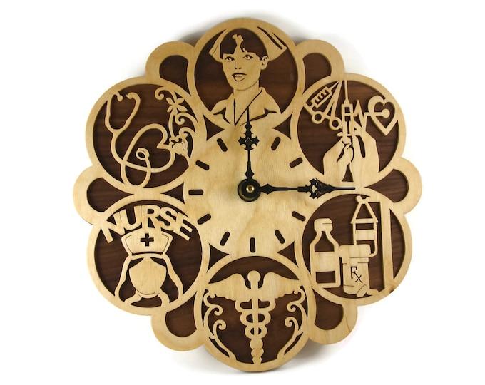 Nurse RN Themed Wood Wall Hanging Clock Handmade By KevsKrafts