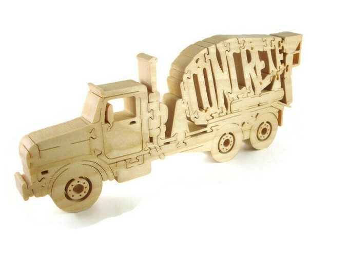 Concrete Truck Scroll Saw Puzzle Handmade From Poplar Wood