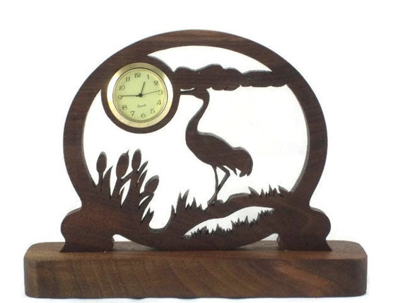 Sandhill Crane Scene Mini Desk Clock Handmade From Walnut Wood