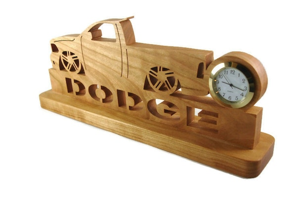 Slammed Dodge SRT Pickup Truck Desk Or Shelf Clock Handmade From Cherry Wood By KevsKrafts