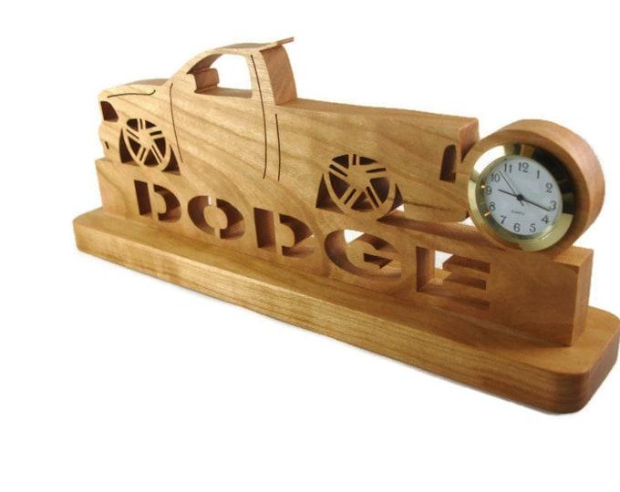 Slammed Dodge SRT Pickup Truck Desk Or Shelf Clock Handmade From Cherry Wood By KevsKrafts