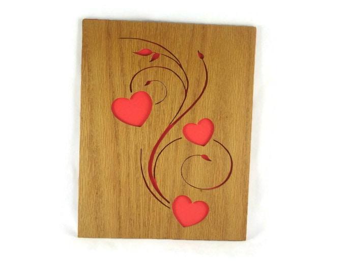 Hearts And Swirls Wood Wall Art Handmade From Oak Wood By KevsKrafts