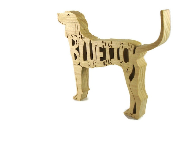 Bluetick Coonhound Dog Puzzle Handmade From Poplar Wood By KevsKrafts