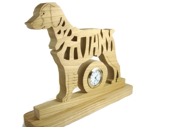 Brittany Dog Quartz Desk Or Shelf Clock Handmade From Poplar Wood By KevsKrafts