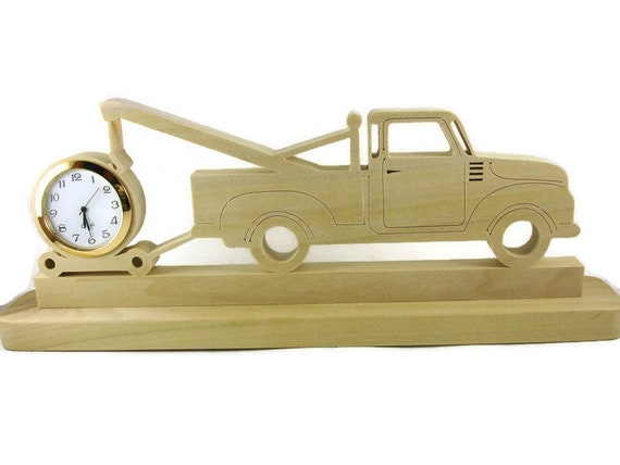 Tow Truck Desk Clock Handmade From Poplar Wood By KevsKrafts