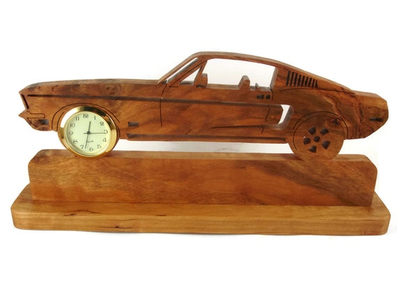 Mustang Desk Or Shelf Clock Handmade From Cherry Wood By KevsKrafts