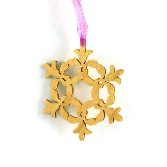 Snowflake Christmas Ornament Handmade From Birch Wood