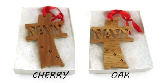 Navy Cross Christmas Ornament Handmade From Cherry Or Oak Plywood By KevsKrafts BN-8