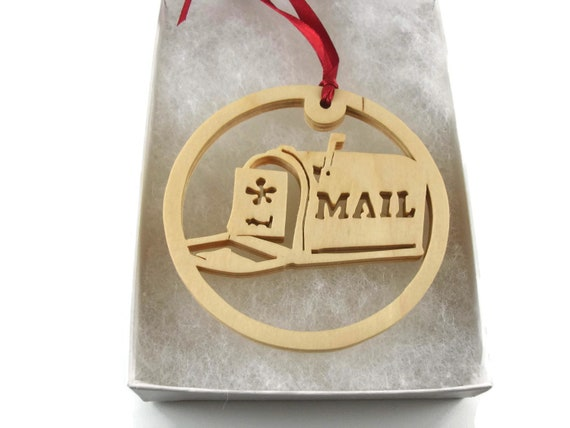 Mailbox Christmas Ornament Handmade From Birch Wood By KevsKrafts BN-7