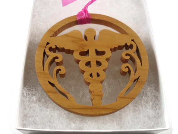 Caduceus Medical Symbol Christmas Ornament Handmade From Cherry Wood By KevsKrafts BN-6-002