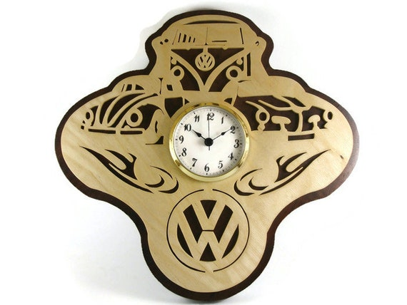 Volkswagen Themed Wall Hanging Clock Cut By Hand From Birch And Cherry Or Walnut Wood By KevsKrafts