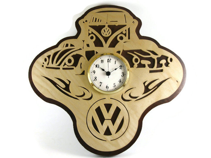 Volkswagen Themed Wall Hanging Clock Cut By Hand