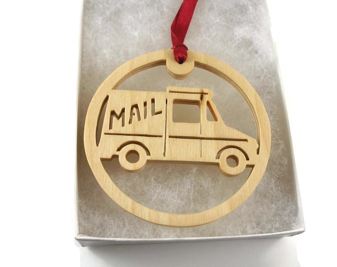 Mail Delivery Truck Christmas Ornament Handmade From Birch Wood by Kevskrafts NB-4-M1