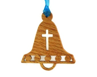 Bell Chistmas Ornament With Cross Handmade From Oak Wood