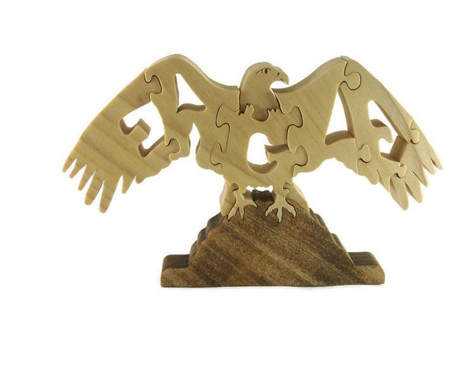 Eagle Scroll Saw Puzzle Handmade From Poplar
