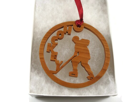 Hockey Player Christmas Ornament Handmade From Cherry Wood By KevsKrafts