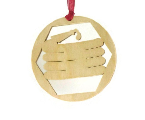 Fireman Fire Hose Christmas Ornament Handmade From Birch Plywood, Christmas Decoration BN-8