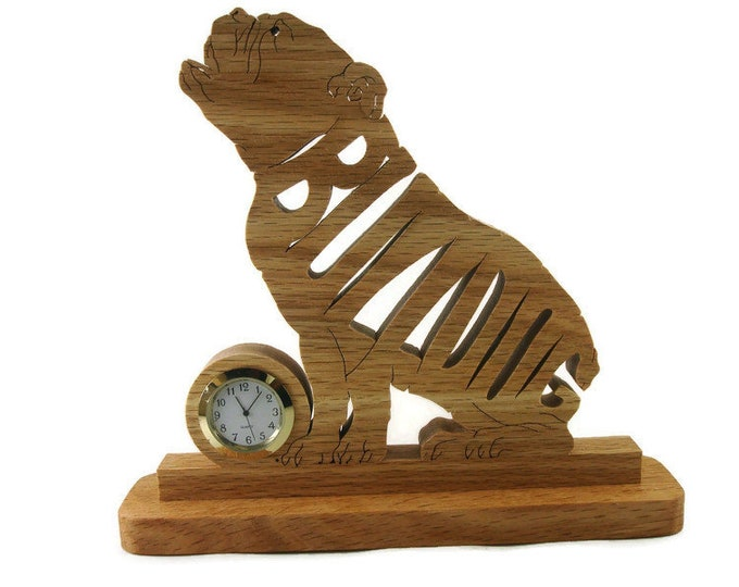 Bulldog Desk Clock Handmade From Oak By KevsKrafts