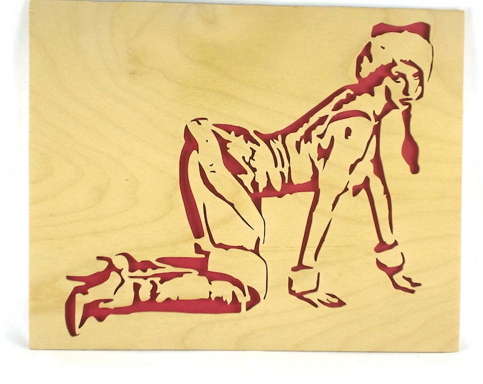 Pin-up In A Miss Santa Claus Suit Wall Hanging Art Handmade From Birch Wood By KevsKrafts, Sexy Miss Santa, Miss Claus Pin Up