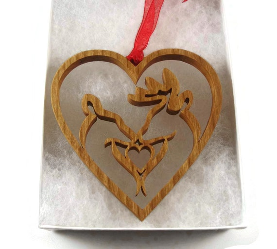 Affectionate Deer Couple In Heart Shape Christmas Ornament Handmade From Cherry Wood By KevsKrafts, Buck & Doe, Deer Hunter, Sportsman