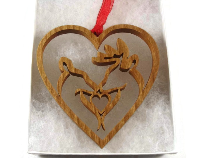 Affectionate Deer Couple In Heart Shape Christmas Ornament Handmade From Cherry Wood By KevsKrafts, Buck & Doe, Deer Hunter, Sportsman