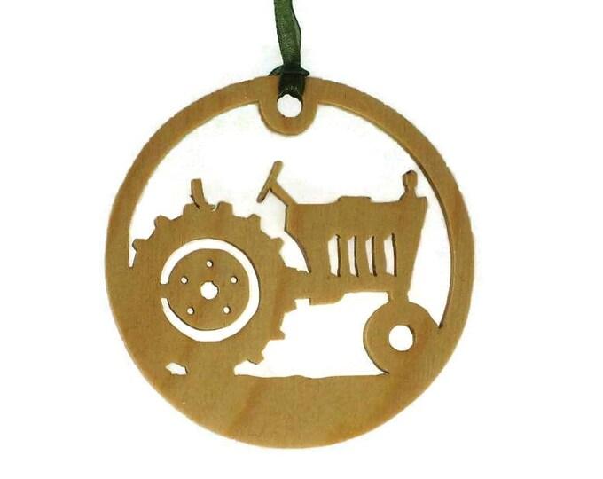 Farm Tractor Christmas Ornament Handmade From Birch Wood BN-16