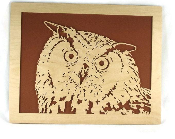 Owl Wood Art Portrait Handmade From Birch Wood By KevsKrafts