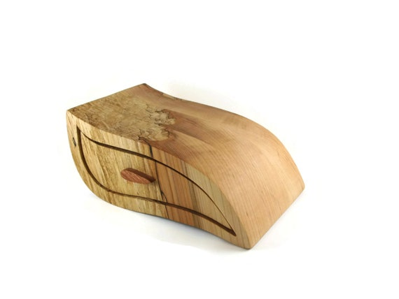 Wave Style Jewelry Or Trinket Bandsaw Box Handmade From Spalted Maple Wood By KevsKrafts