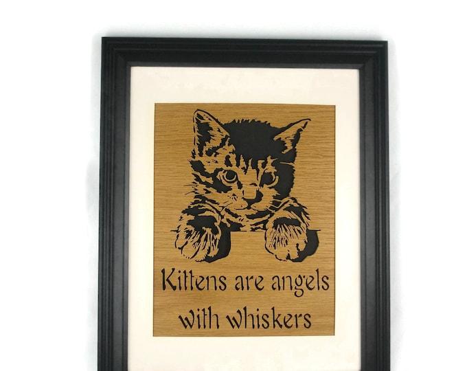 Cat Or Kitten Wood Wall Art Decor Handmade From Oak Wood Framed In Black Laquer 10 x 13 Fame With 8 X 10 Matt