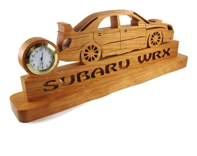 Subaru Impreza WRX Rally Car Desk Or Shelf Clock Handmade From Cherry By KevsKrafts