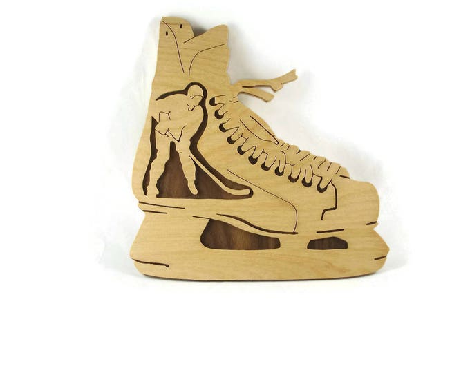 Hockey Player In Ice Skate Wall Hanging Plaque Handmade From Birch And Walnut Plywood