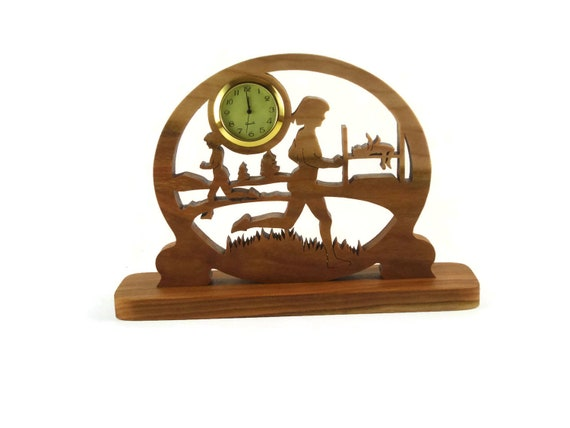 Cross Country Runner Fitness Clock Handmade From Cherry Wood By KevsKrafts NFB-1