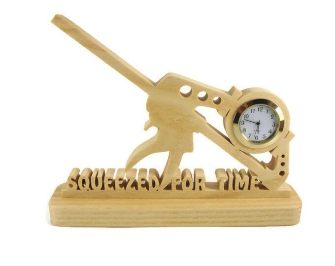 Bar Clamp Desk Or Shelf Clock Squeezed For Time Handmade From Ash Wood By KevsKrafts