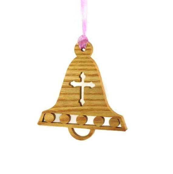 Christmas Bell With Decorative Cross Ornament Handmade From Ash Wood (001)