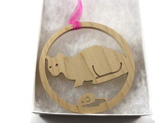 Cat And Mouse Christmas Ornament Handmade From Maple Wood By KevsKrafts