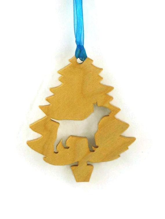 Bull Terrier Christmas Tree Ornament Handmade from Poplar Wood