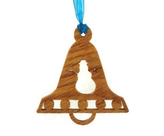 Snowman Bell Shaped Christmas Ornament Handmade From Oak Wood