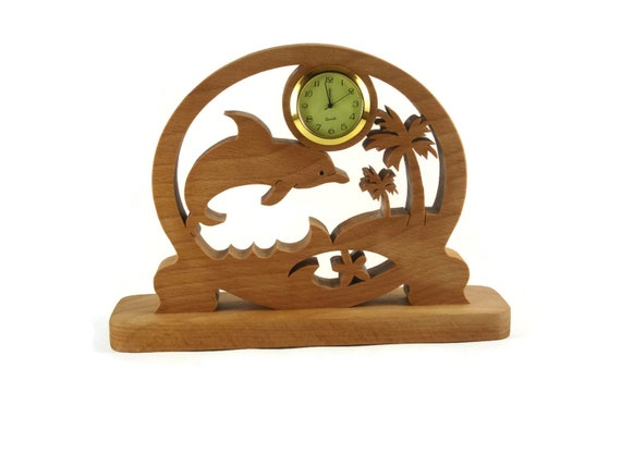 Dolphin Scene Desk Or Shelf Clock Handmade From Beech Wood By KevsKrafts