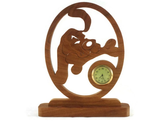 Dog With Doggy Bone Desk Or Shelf Clock Handmade From Cherry Wood
