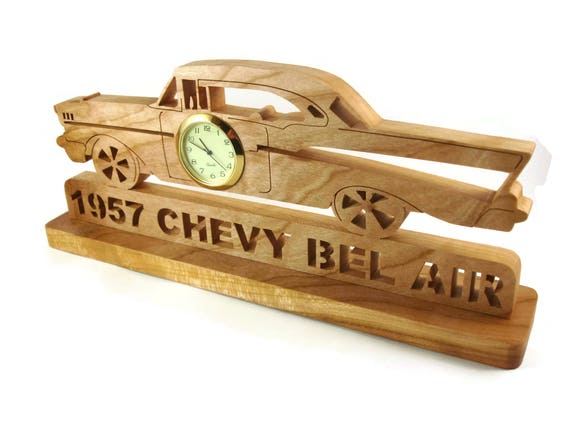 Wooden 1957 Chevy Bel Air Desk Or Shelf Clock Office Art Decor Handcrafted From Cherry Wood By KevsKrafts NFB-1